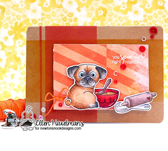Dog Love Card by Ellen Haxelmans featuring Newton's Nook Designs Pug Hugs and Made from Scratch #newtonsnook