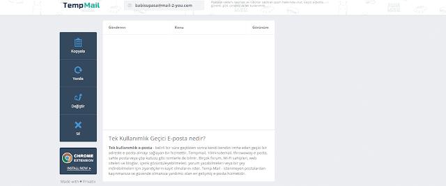 Temp mail sitesinin görseli