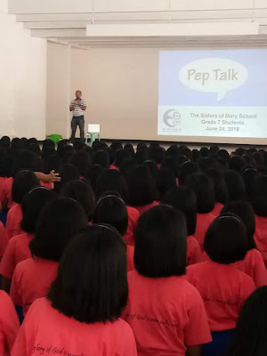 2018 Pep Talk with Grade 7 Sisters of Mary Students