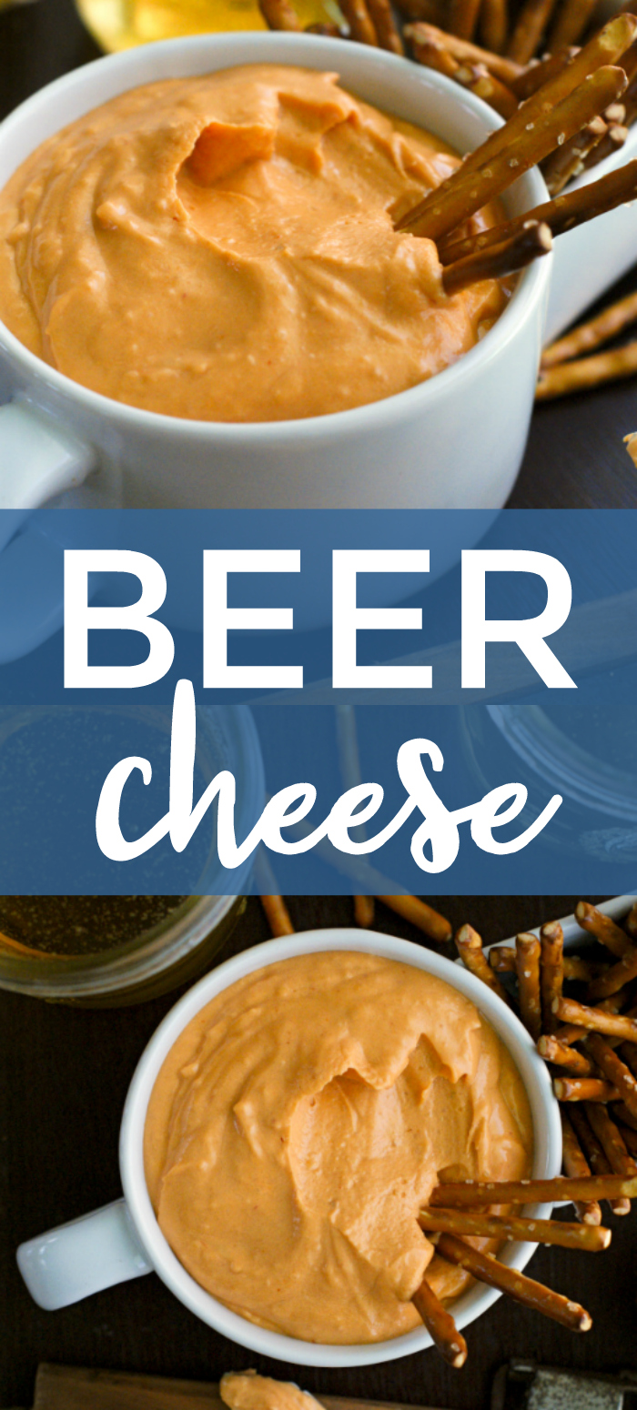 Beer Cheese is a simple, yet bold sharp cheese spread that is ridiculously easy to make and perfect for spreading on crackers or pretzel dipping! #appetizer #diprecipe #beercheese