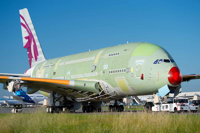 First Appearance Airbus A380-800 of Qatar Airways