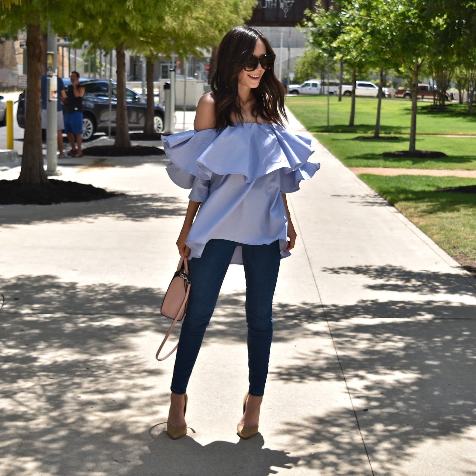 Shein Royal Blue Ruffle Off the Shoulder Top