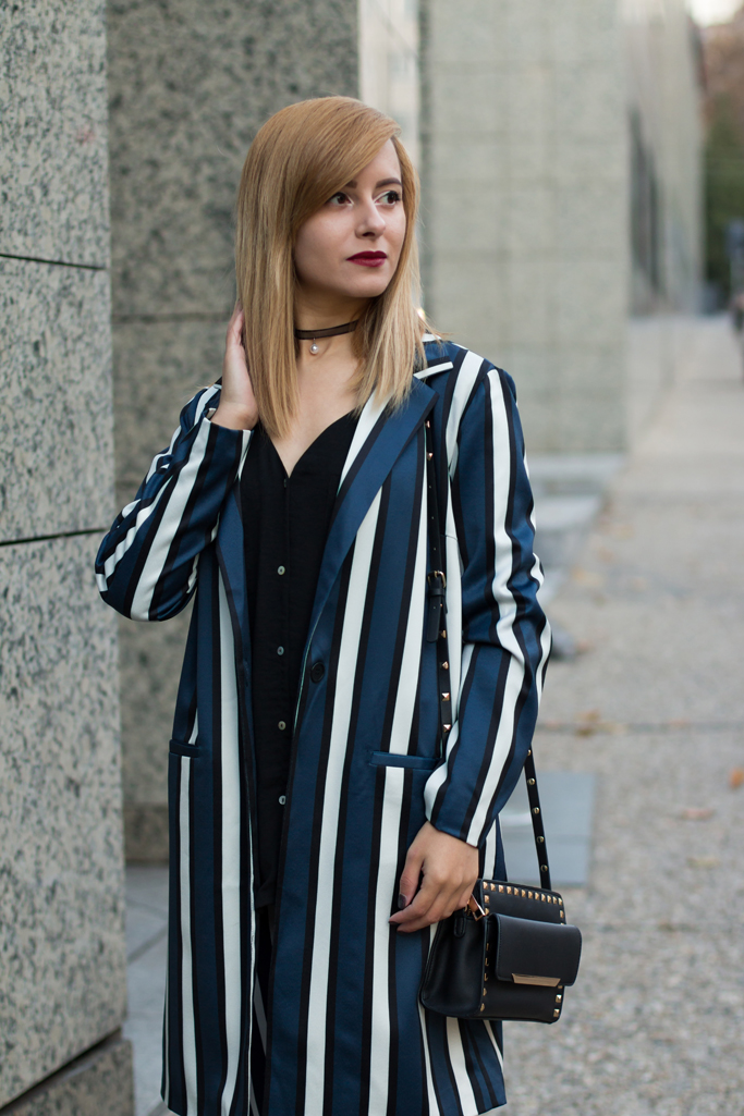 vertical striped blazer