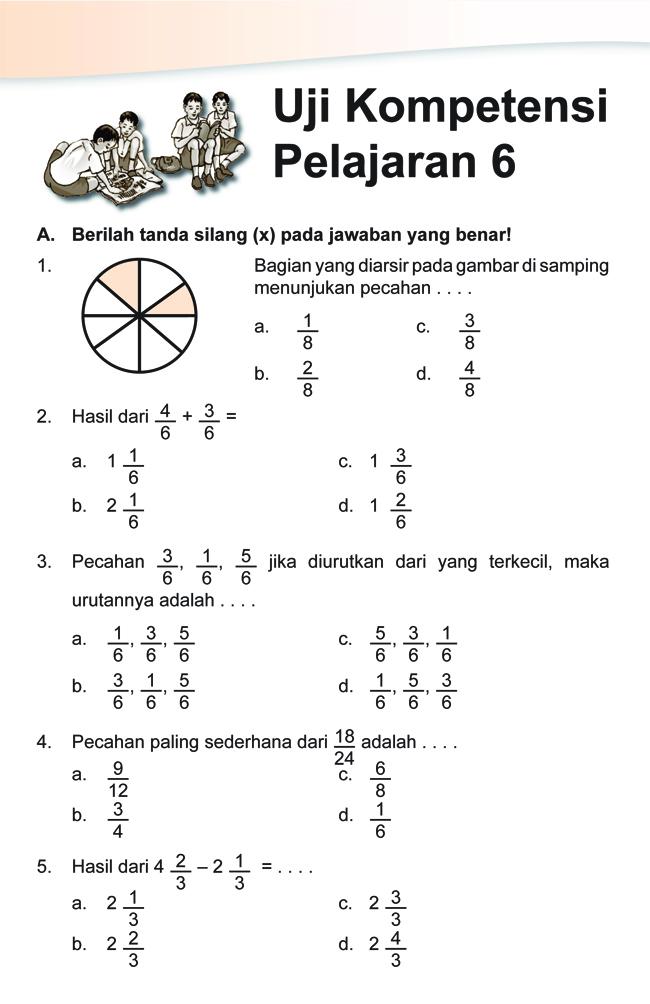Soal SD Kelas 4 Matematika - Pecahan