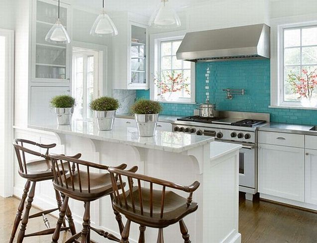 white kitchen with turquoise and marble