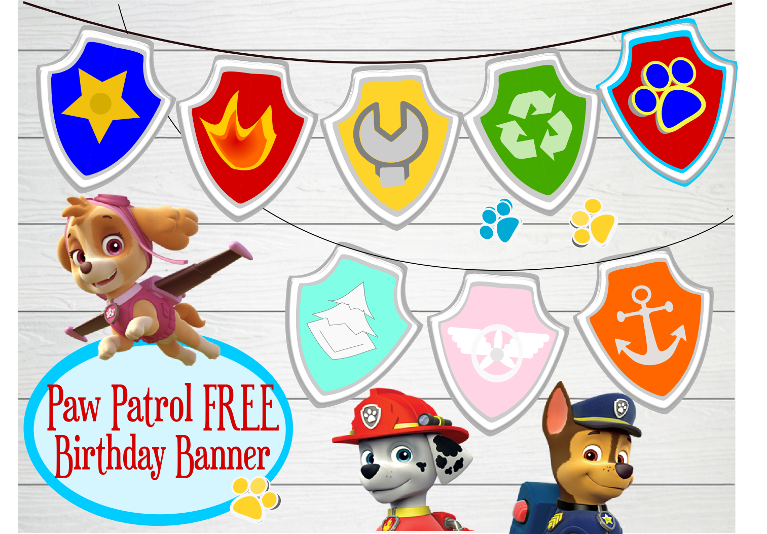 And I Also Went Back Came Up With This Simple Paw Patrol Badge Banner Available For DownloadFREE People Youre Welcome
