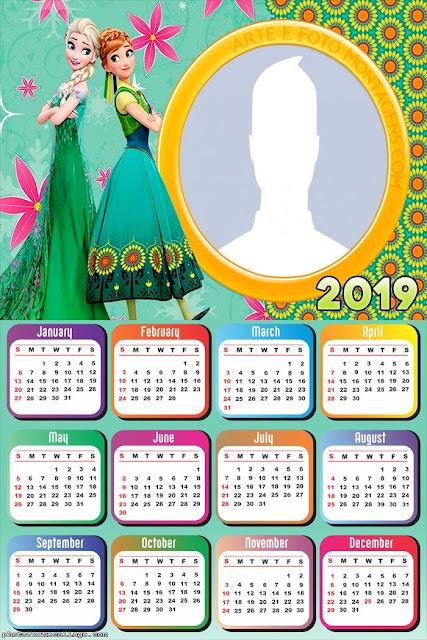 Calendario 2019 de Frozen Fever para Imprimir Gratis.
