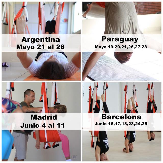 Calendario cursos aeroyoga internacional,  España,Paraguay,Argentina,