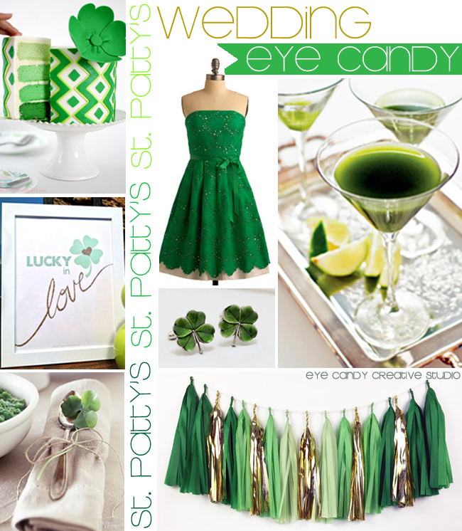 st pattys day wedding, wedding inspiration, green and gold wedding, lucky in love, green and gold tissue garland, four leaf clover, green dress, green martini