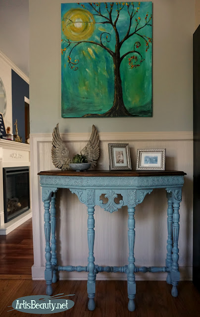 original artwork by karin chudy persian blue general finishes milk paint and walnut inlaid top occasional table makeover before and after