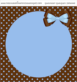 Brown and Light Blue: Free Printable Candy Bar Labels.