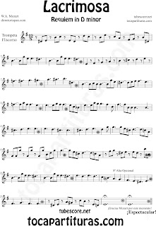Partitura Fácil  de Lacrimosa para Trompeta y Fliscorno by Sheet Music for Trumpet and Flugelhorn Partitura Requiem by Mozart Music Scores