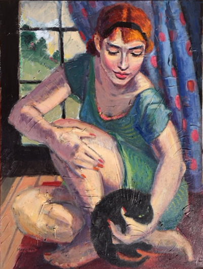 Woman Black Cat Girl With Kitten Contemporary Figurative