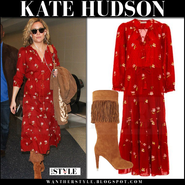 Kate Hudson in red printed ulla johnson clementine maxi dress and suede louboutin boots what she wore