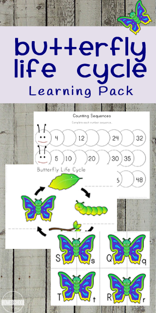 FREE Butterfly Life Cycle Pack - includes not only cut and paste life cycle worksheets with key vocabulary, but also butterfly themed skip counting, alphabet, clock, addition worksheets, and more for a fun spring theme for preschool, prek, kindergarten, and first grade