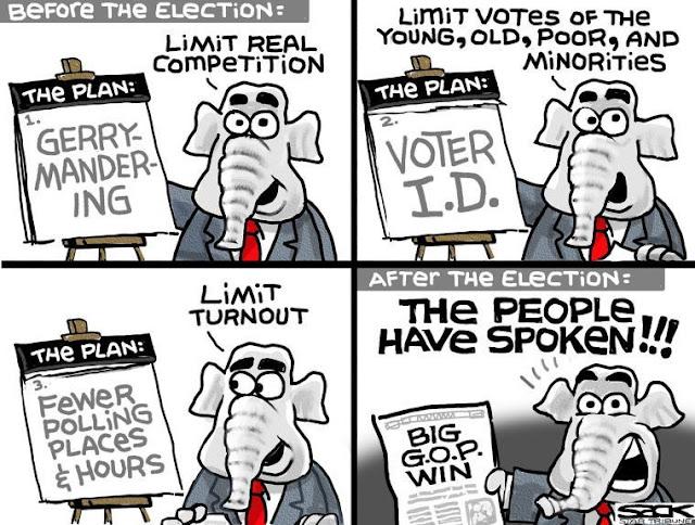 Republican elephant at flip chart headed