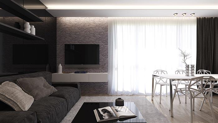 siyah beyaz tasarım oturma  odası dekorasyonu