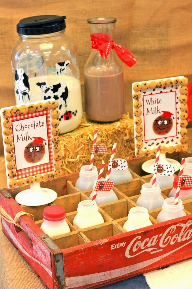 back to school party, western theme, cow print, bales of hay, milk carton
