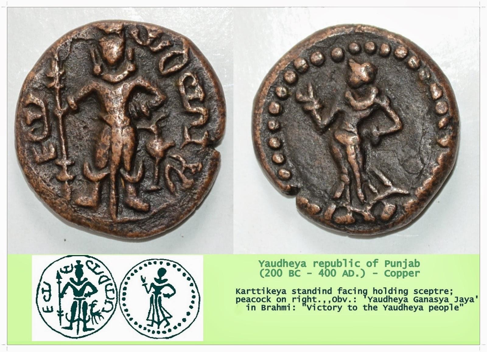 """Ancient Indian Coins. """"ಪ್ರಾಚಿನ ಭಾರತದ ನಾಣ್ಯಗಳು."""": Yaudheya"""