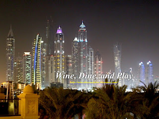 The Dubai Marina from Palm Island at the Frevo restaurant in Dubai, UAE