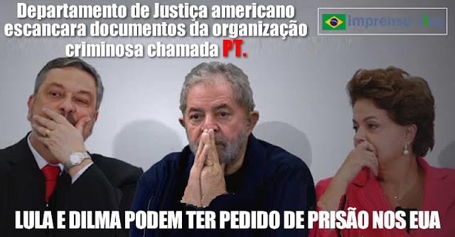 Departamento de Justiça dos EUA divulgam ao mundo toda a corrupção de Lula e Dilma. Vão reclamar de vazamento?