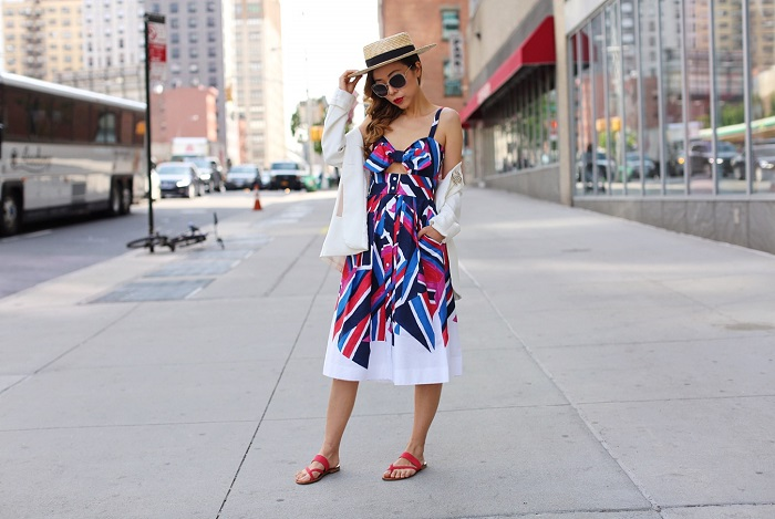 Milly Inkblock Print Jordan Tie Dress, M Gemi The Medio sandals, chanel brooch, chloe carlina sunglasses, white blazer, nyc street style, vacation style, nordstrom half yearly sale