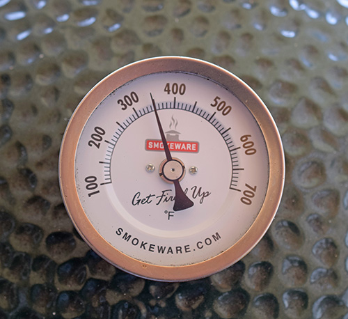 My Big Green Egg's feature the Smokeware Thermometer