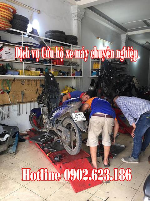 Cứu hộ sửa chữa xe máy Exciter 135 gặp sự cố tận nơi tại TpHCM