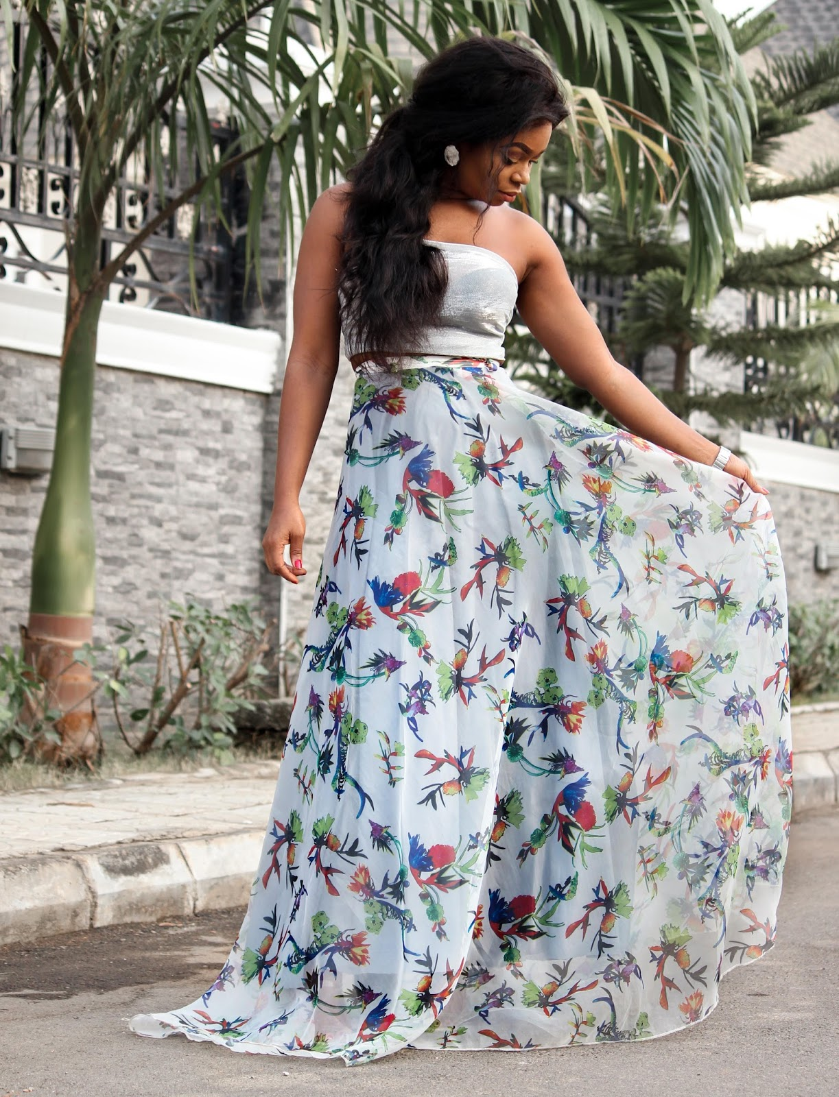 JUST PORSHHER - Printed Organza Maxi Skirt from Porshher with  Porshher scarf top and Public desire sandals