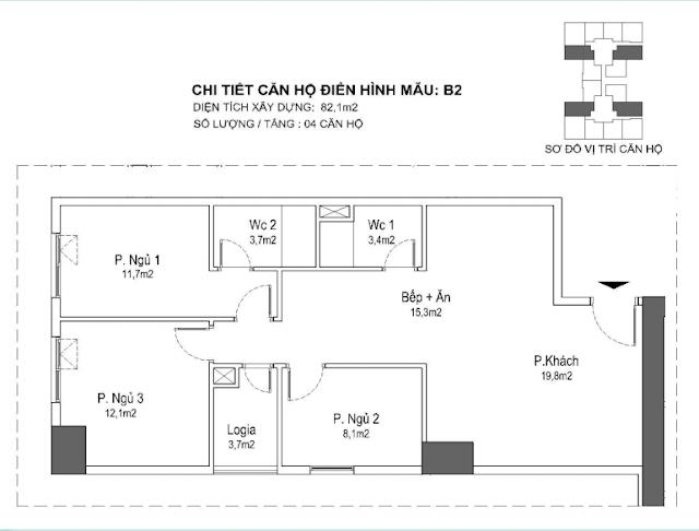 căn hộ B2 82m, tòa Park 1 2 3 Eurowindown Đông Trù