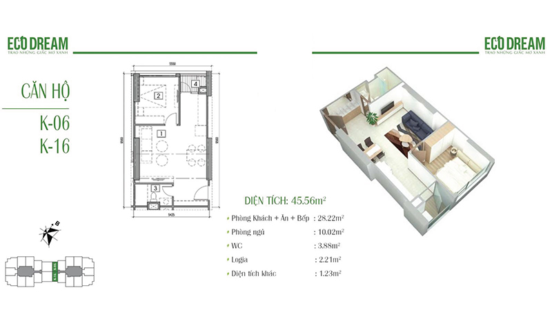 Thiết kế căn hộ 1PN, 45m2 chung cư Eco Dream
