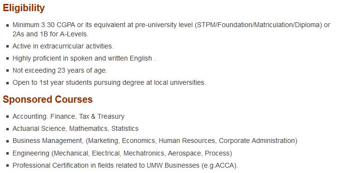 Tawaran Biasiswa UMW Holdings Berhad untuk pelajar ijazah dalam negara