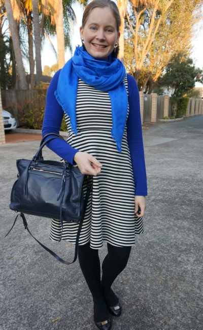 cobalt tee with LV monogram scarf and striped fit and flare dress statement earrings regan bag | away from blue