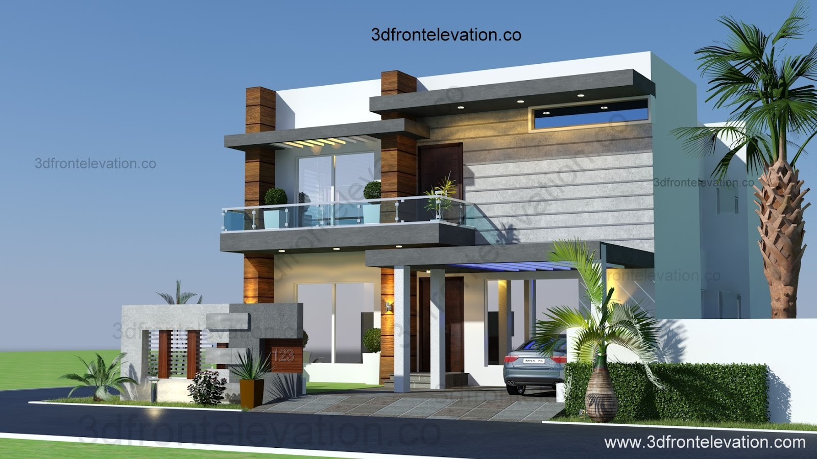 3d front 10 marla houses design islamabad for 3d elevation house plan