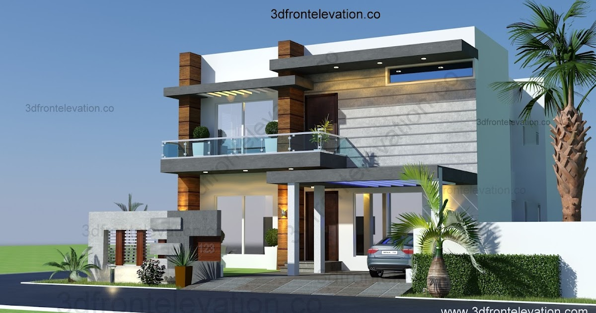 3d front 10 marla houses design islamabad