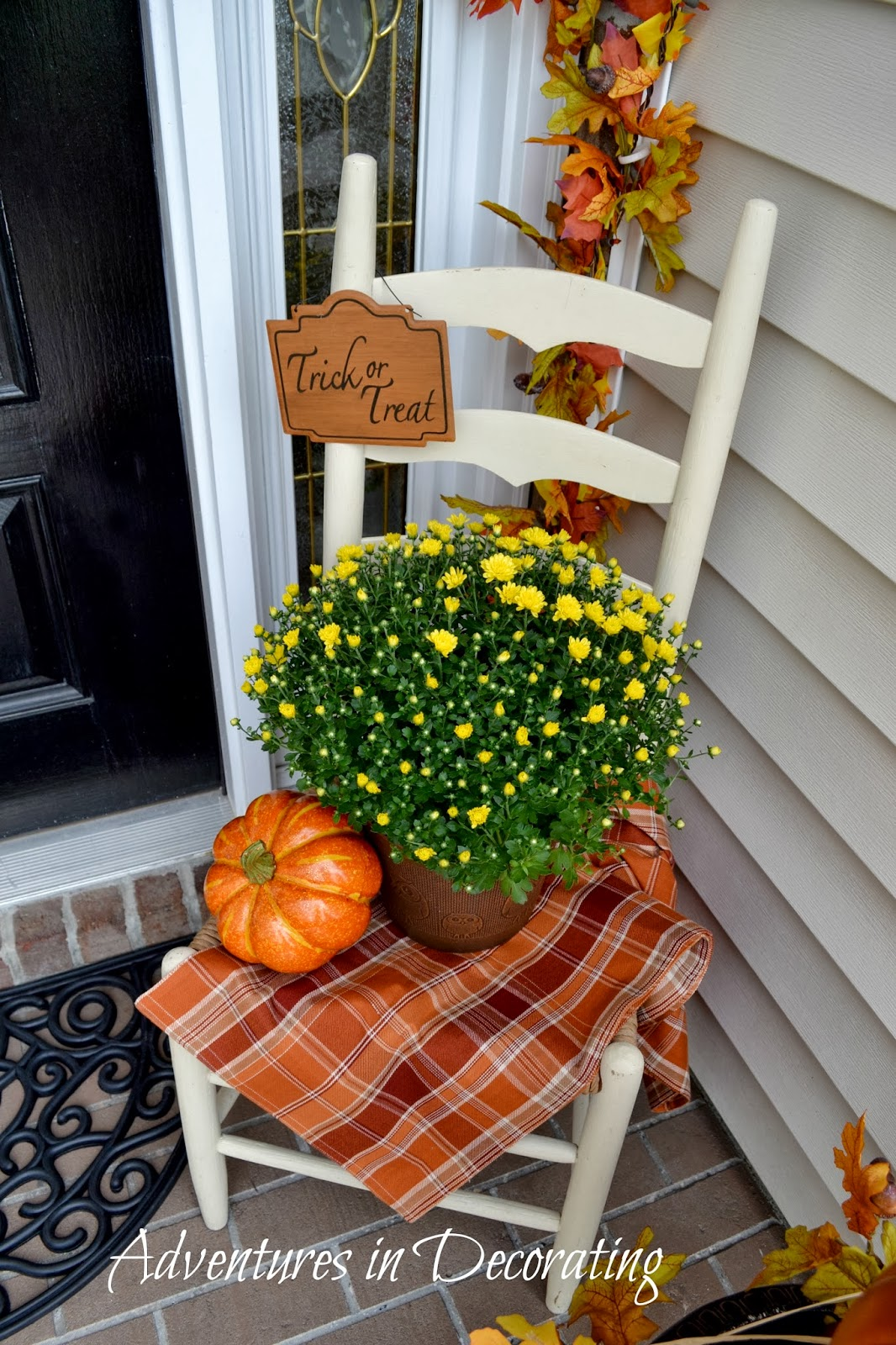 Adventures in decorating our fall front porch - Fall front porch ideas ...