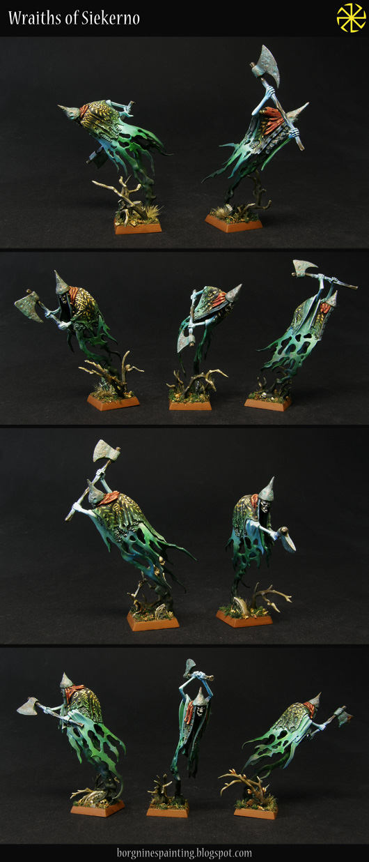 10 converted Grimghast Reapers from Age of Sigmar (AoS), shown separately, with black and red capes over their ghostly bodies, axes and pointy helmets.