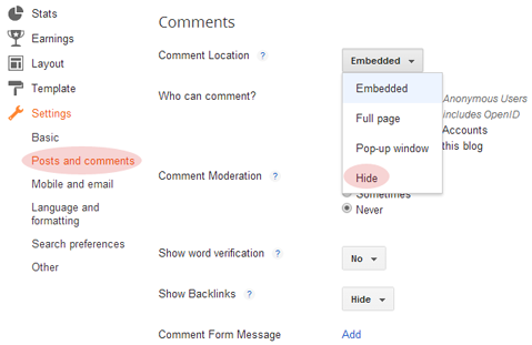 Comments Settings in Blogger