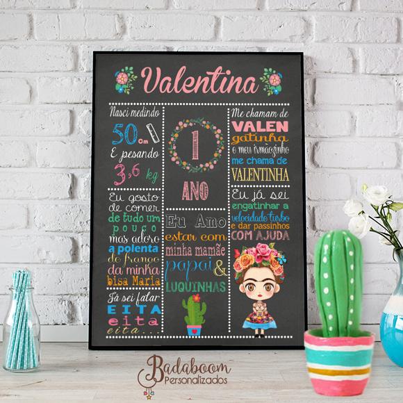 arte, digital, chalkboard, quadro, negro, quadrinho, festa, decoração, infantil, teen, méxico, mexicana, mexicano, frida, frida kahlo, personalizado