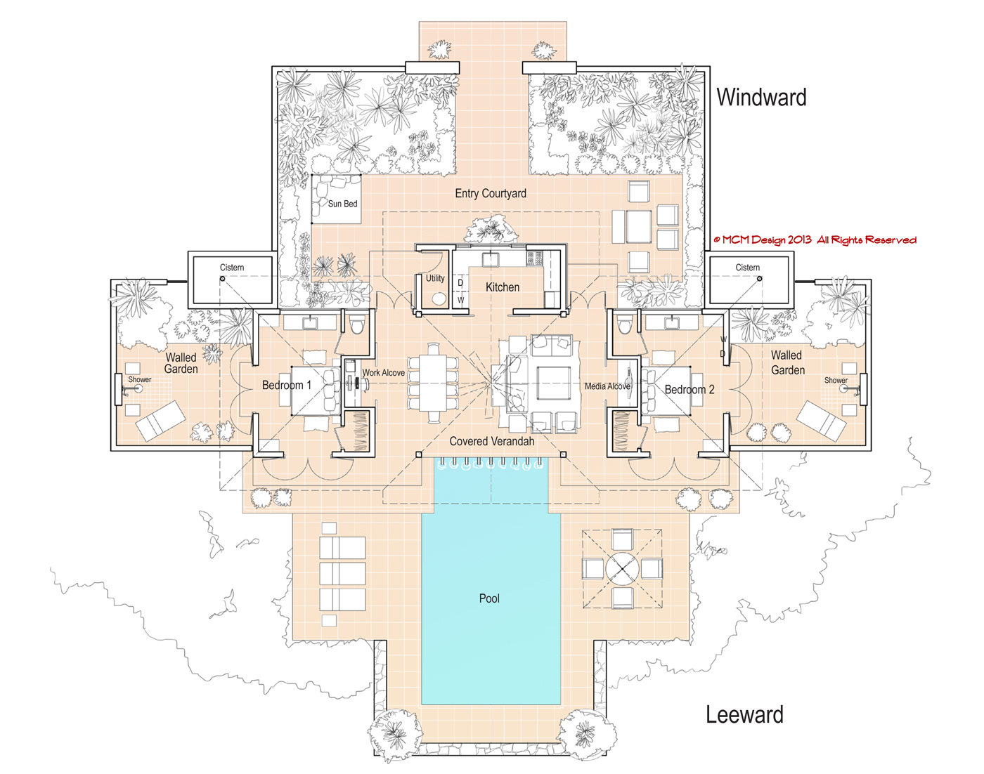 Mcm design minimum island house plan Floor plans for my house