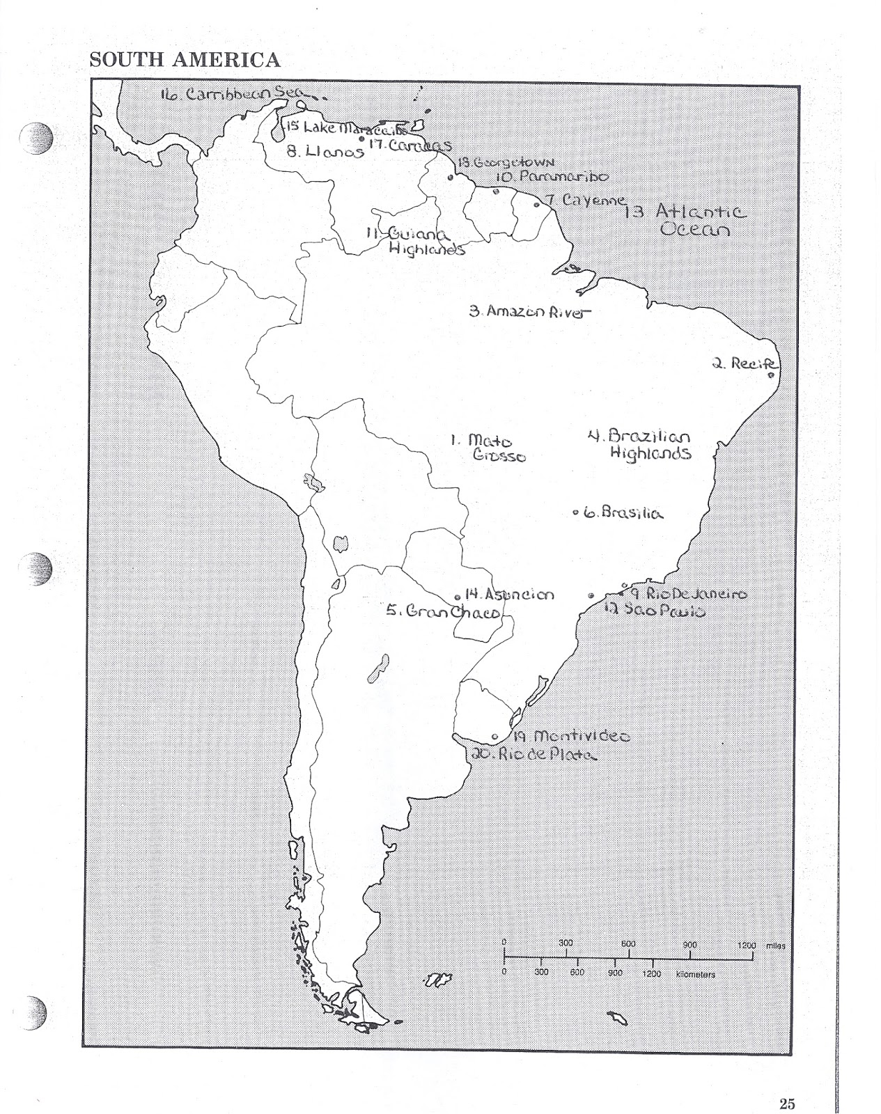south america map mexico notes