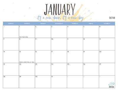 2018 calendar for moms