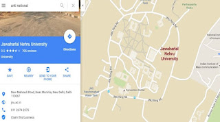 jnu anti social in google maps
