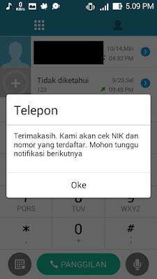 Proses pengecekan NIK yang telah terdaftar sudah selesai, lalu klik Oke dan tunggu sms masuk