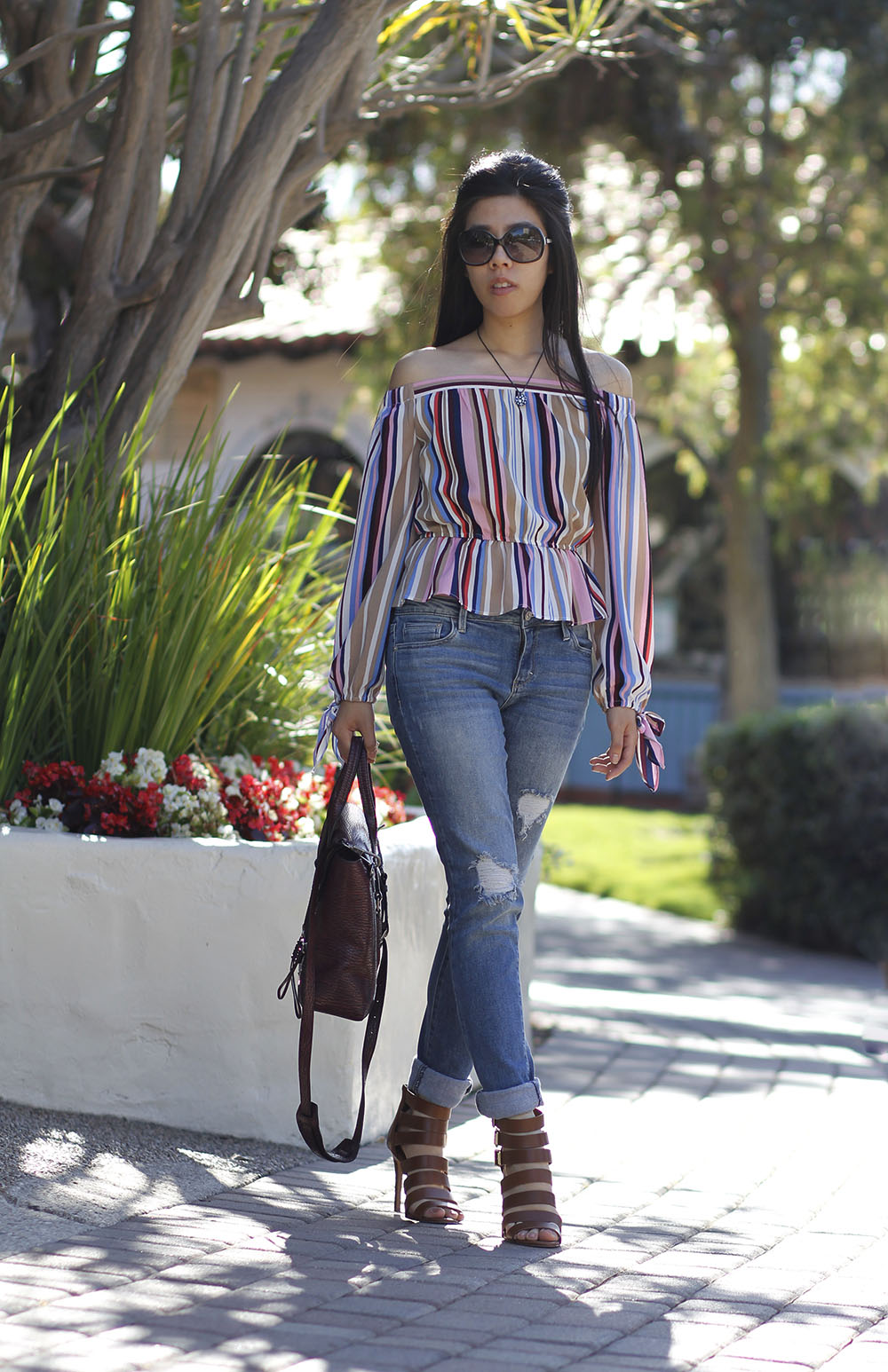 off the shoulder vertical stripes top with bows_Adrienne nguyen_Invictus
