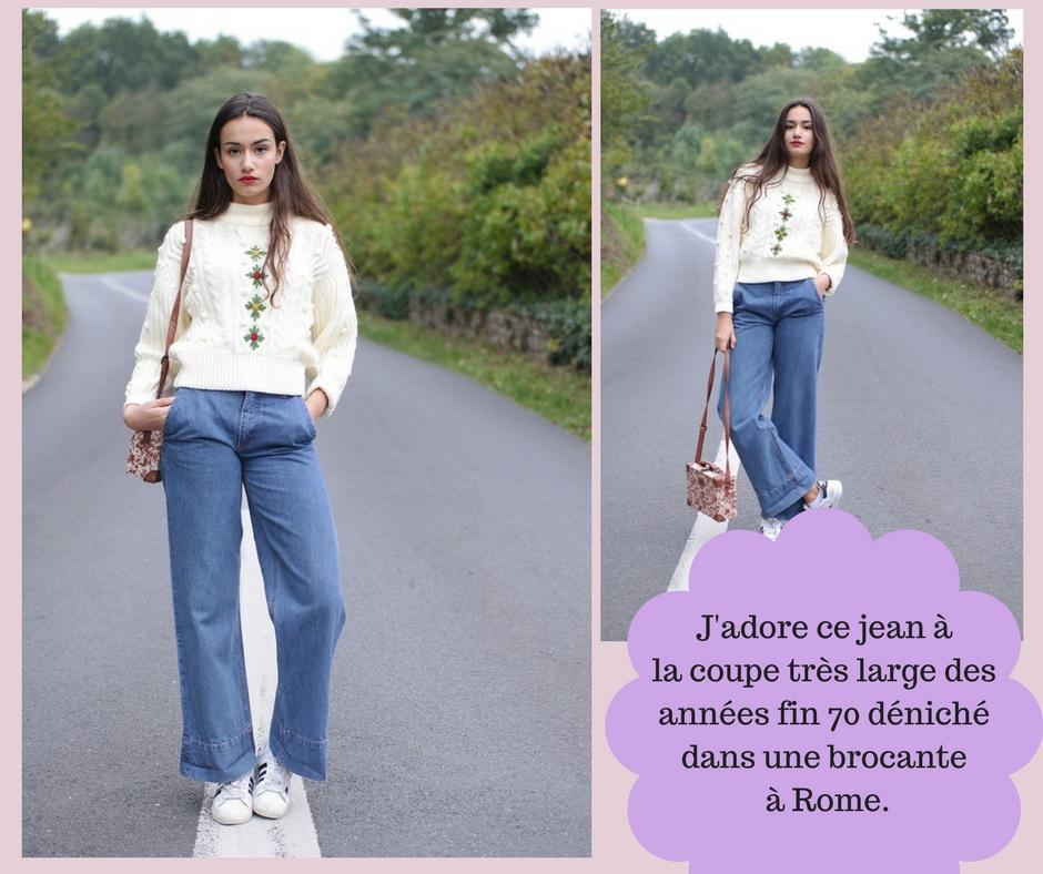 Jean vintage  patte d'éléphant taille haute des années 70