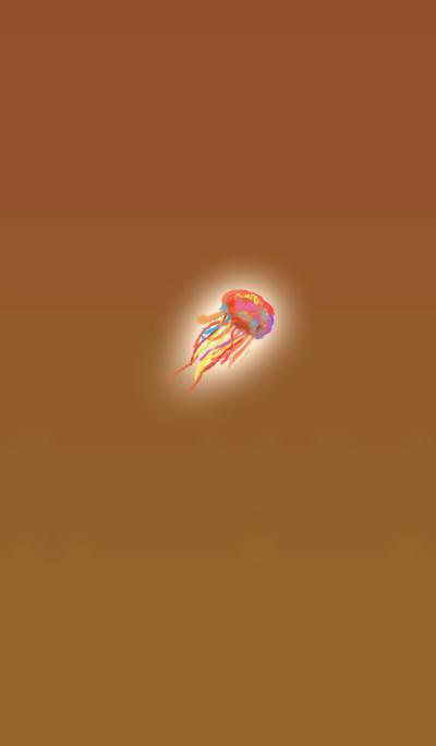 Watercolor orange jellyfish