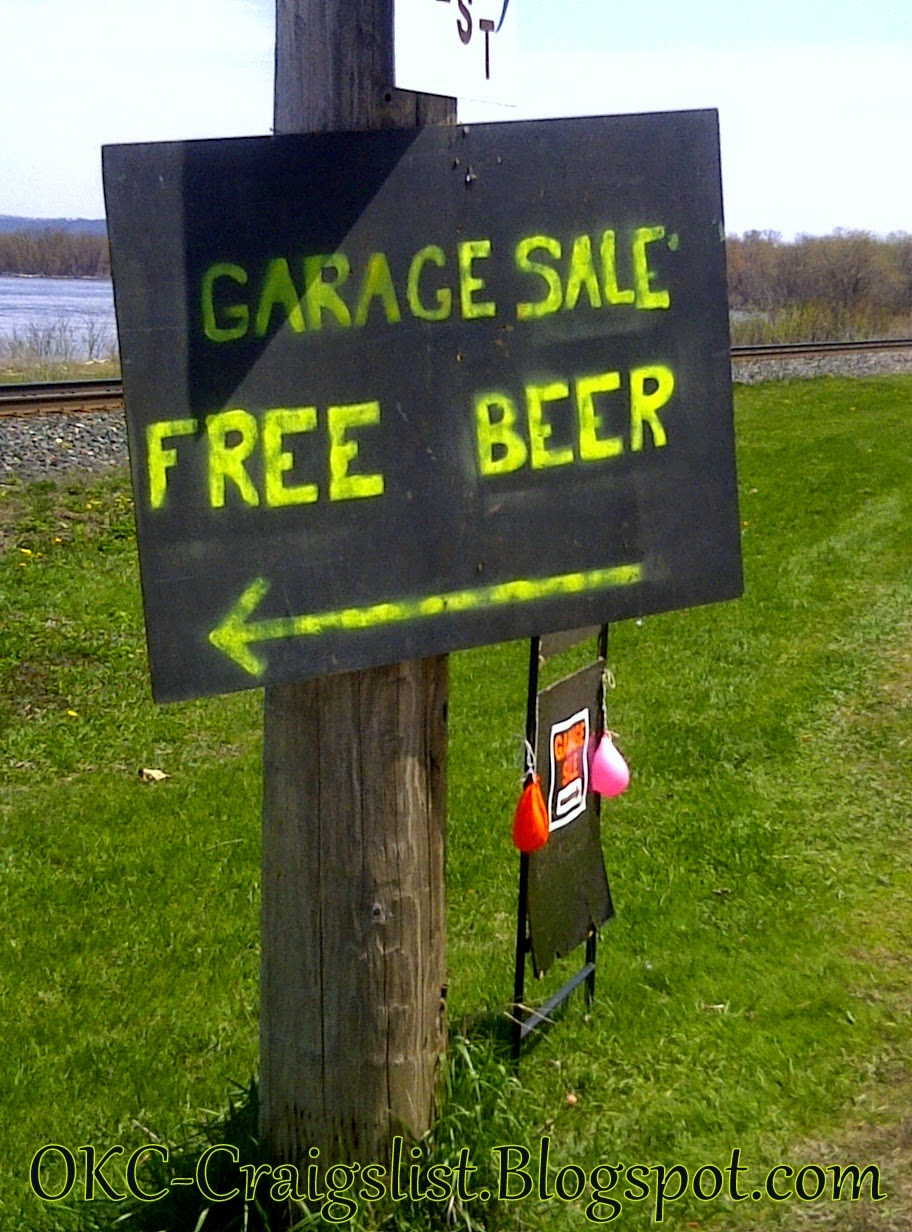GARAGE SALE SIGN-OF-THE-WEEK: Free Beer | Oklahoma City Garage Sales Craigslist