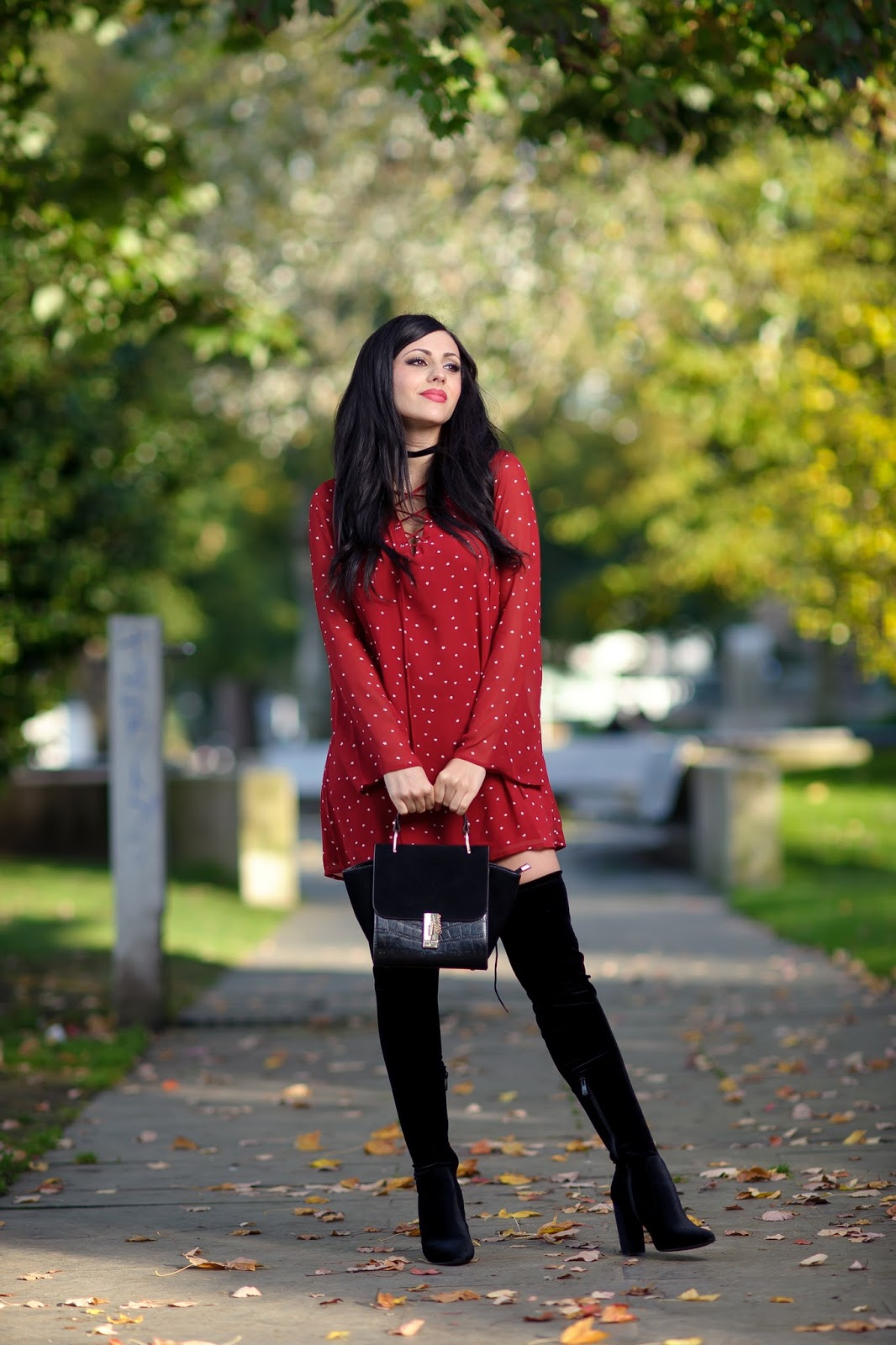 RED DRESS + LONG BOOTS