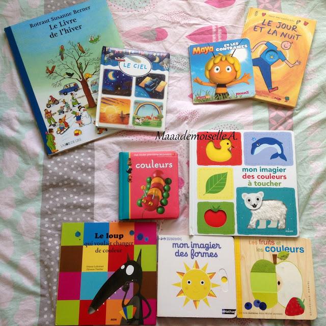 Le livre de l'hiver - Le ciel - Maya et les contraires - Le jour et la nuit - Couleurs - Mon imagier des couleurs à toucher - Le loup qui voulait changer de couleur - Mon imagier des formes - Mes fruits et les couleurs